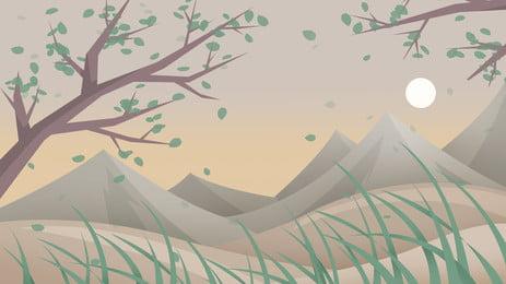 산 피크 긴 잔디 밝은 달 녹색 나무 만화 배경, 산봉우리, 긴 잔디, 밝은 달 배경 이미지