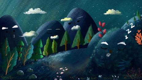 マウンテンストーリー漫画の森の夜の背景デザイン マウンテンストーリーの背景 漫画 可愛い 背景画像