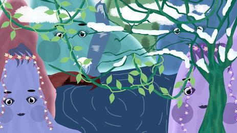 Fairytale Wind Mountain Story Cute Landscape Background