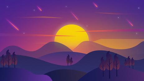 Multicolored gradient distant mountain sunrise background, Tree, Sunrise, Gradient Background Background image