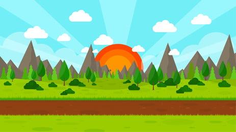 平たい化の全国民の健康を保つ屋外のランニングの山の峰の空の背景, 背景デザイン, フィットネス, 創意バンク 背景画像