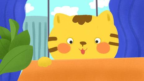 木桌上趴著的調皮小貓房間窗戶卡通背景, 木桌, 趴著, 調皮 背景圖片
