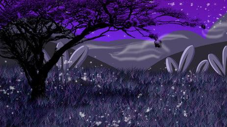 밤 큰 나무 산 봉우리 초원 만화 배경, 밤, 큰 나무, 산봉우리 배경 이미지