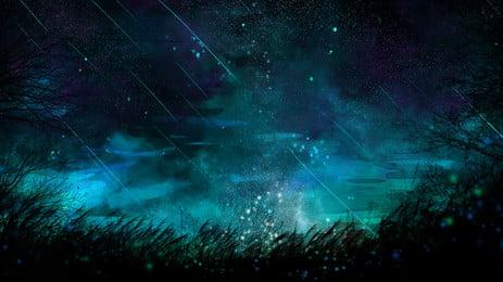 bầu trời màu xanh ánh sao đêm nền hoạt hình, Hoạt Hình, Đêm, Bầu Trời đêm Ảnh nền