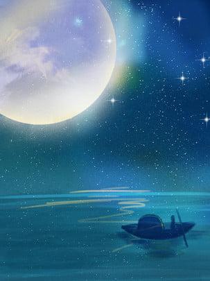 夜色唯美月色圖 , 夜色唯美月色圖, 夜色美景, 夜晚 背景圖片