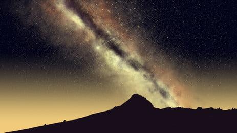 夜の山の峰の空の銀河系の漫画の背景, アニメ, 夜の夜, 空 背景画像
