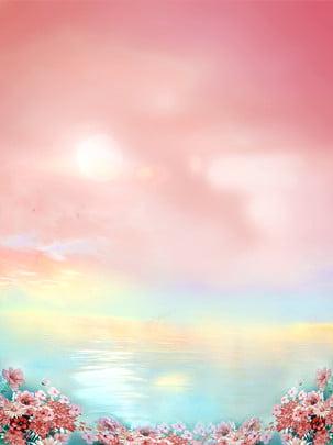 オレンジ赤の軟水雲花の背景パターン , 水, クラウド, 花 背景画像