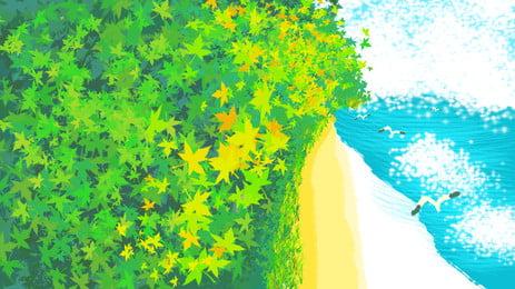 Sơn tháng tám Hello Beach Green Maple Leaf Chất liệu nền Lá phong Mùa thu Bãi Phích PSD Hình Hình Nền