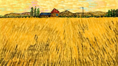 Matériel de référence pour la peinture à lhuile peint festival dautomne automne festival de riz Champ de riz Peinture Daffichage Tombées Tableau Image De Fond