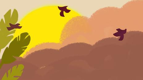 秋分点、シンプルな背景素材を描いた 飲み込む 太陽 葉っぱ 秋の背景 塗装済み あき バナーの背景 背景素材ダウンロード 背景イメージ バナーの背景デザイン クリエイティブな背景 漫画素材 手描きのバナーの背景 秋分点、シンプルな背景素材を描いた 飲み込む 太陽 背景画像