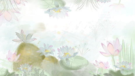 Painted Autumn Lotus Background Material, Autumn, Lotus, Lotus Background, Background image