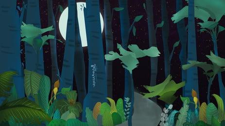 गर्मियों के बड़े जंगल की पृष्ठभूमि चित्रित, जंगल, लकड़ी, गर्मियों की बड़ी पृष्ठभूमि पृष्ठभूमि छवि