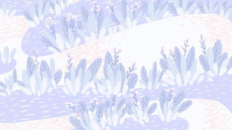 चित्रित नीला देश सड़क पृष्ठभूमि सामग्री, चित्रित, नीला, फूल पृष्ठभूमि छवि
