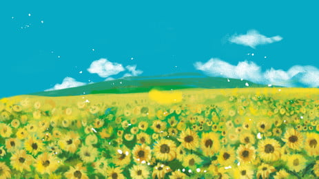 青い空ひまわりデスクトップ背景素材を描いた, 花の海, サンフラワー, ひまわり 背景画像