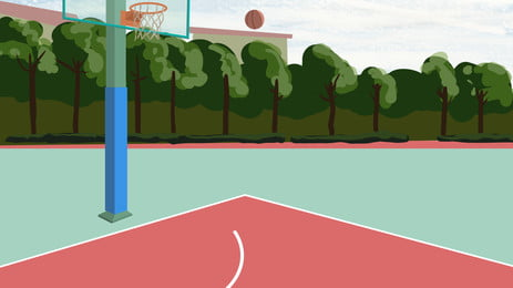 彩繪校園風籃球場背景素材 校園風 籃球場 操場背景圖庫