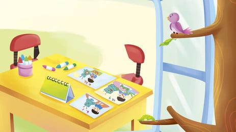 चित्रित बच्चों की अध्ययन तालिका चित्रण पृष्ठभूमि डिजाइन, चित्रित पृष्ठभूमि, कार्टून, हाथ खींचा हुआ पृष्ठभूमि छवि