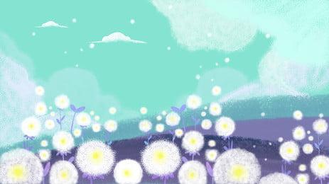 चित्रित dandelion पृष्ठभूमि सामग्री, सारंग, फूल, हाथ से तैयार सामग्री पृष्ठभूमि छवि