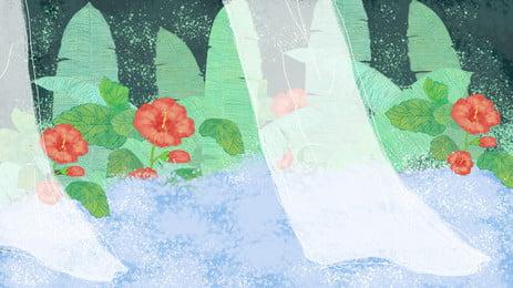 色彩は夢まぼろしの草花のbannerの背景の素材を描きます Bunerの背景 広告の背景 彩色の素材 背景画像
