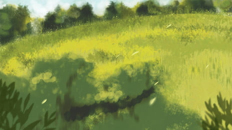 Painted Lawn Grass Flowers Illustration Background Design, Painted Background, Grassland, Lawn, Background image
