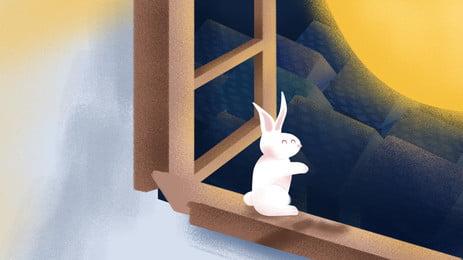 painted mid autumn festival 월 옥 토끼 배너 소재, 중추절, Psd 배경, 중순 가을 광고 배경 이미지