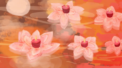 로터스 리프 배경 자료를위한 painted mid autumn festival, 그린 연꽃 잎 램프, 연꽃 잎 램프, 중국 전통 축제 배경 배경 이미지