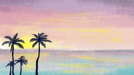 処暑祭気海彩霞椰子の背景素材を描きました, Bunerの背景, 背景デザイン, アイデアの背景 背景画像