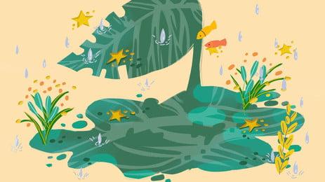 Sơn văn phòng mưa mùa hè vật liệu nền lotus pond Ao Mưa Ngôi Hình Nền