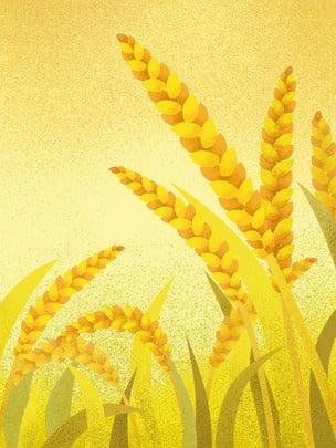彩繪麥田豐收海報背景 , 麥穗, 金色, 莊稼 背景圖片