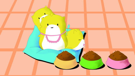 pet animals and food cartoon background on yellow floor, Yellow, On The Floor, Pet Background image