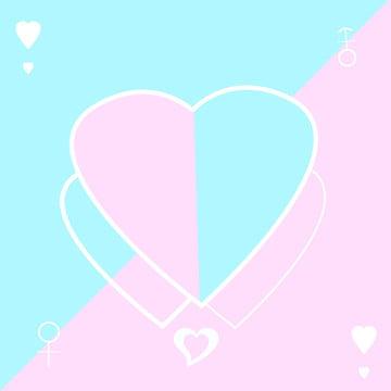 Pink Blue Girl Love Background, Love, Teenage Girl, Blue, Background image