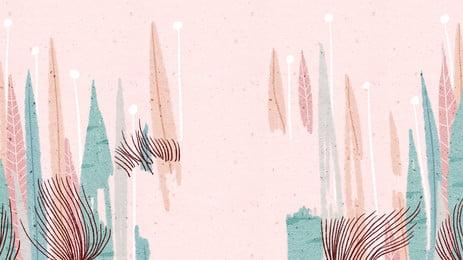 Ilustração de fundo bonito dos desenhos animados rosa planta Pink Caricatura Bonito Planta  fundo Folhas Fundo dos Do Animados Banner Imagem Do Plano De Fundo