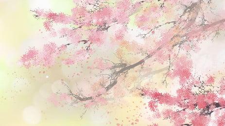 La rama de la flor del árbol de la flor rosada rinde el fondo de la historieta de la acuarela Rosa Árbol de flores Rama La Rama De Imagen De Fondo