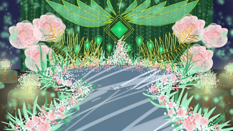 Розовые цветы зеленые листья украшают место проведения свадьбы розовый цветы Зеленый Фоновое изображение
