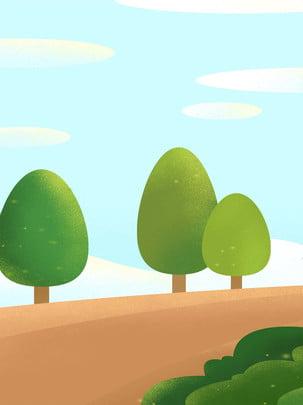 nền quảng cáo cây nhỏ đồng bằng dưới bầu trời xanh và những đám mây trắng , Bầu Trời Xanh Và Mây Trắng, Đồng Bằng, Cây Nhỏ Ảnh nền