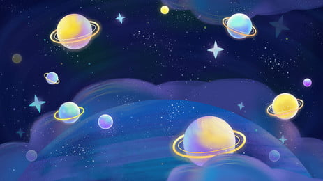 ग्रह नीली रात आकाश कार्टून पृष्ठभूमि, ग्रह, नीला, रात का आसमान पृष्ठभूमि छवि