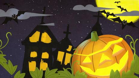 bí ngô lâu đài quảng cáo nền, Nền Quảng Cáo, Halloween, Ánh Sáng Bí Ngô Ảnh nền