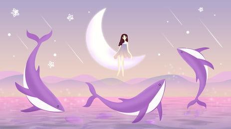 Purple Beautiful Dolphin Moonlight Girl Background Material, Moonlight, Moon, Dolphin, Background image