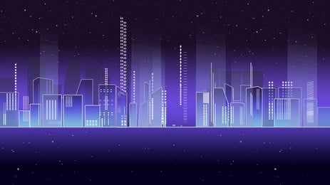 Purple Dreamy City Silhouette Background Design Silhouette Background,technology,science Fiction,business,advertising, Background, Background, Material, Background image