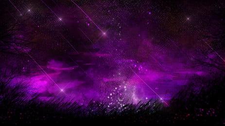 보라색 밤 하늘 일러스트 배경 디자인, 자주색, 빛, 별이 빛나는 하늘 배경 이미지