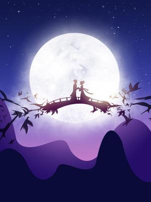 ponte da lua menina do tecelão de qixi niu lang , Tanabata, Cowherd, Tecelão Imagem de fundo