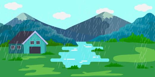 हरी घास का मैदान बूंदा बांदी बारिश बरसात का दिन हल्की, ऋतु, वसंत, वर्षा पृष्ठभूमि छवि