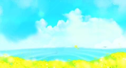 समुद्र का सामना करते हुए वसंत खिलता है बारिश बरसात का दिन हल्की, शब्द, सुखी, सूरज पृष्ठभूमि छवि