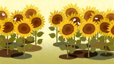 收貨季節向日葵花海背景背景, 向日葵, 花海, 黃色 背景圖片