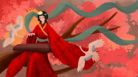 赤いドレス衣装女性漫画の背景、ピアノを弾く, 赤, コスチューム, 女 背景画像