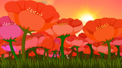 紅色花海陽光banner背景素材, 花海, 陽光, 紅色 背景圖片