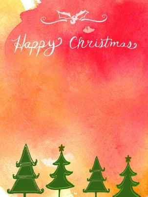 लाल ढाल वाला पानी के रंग का उत्सव गर्म क्रिसमस की पृष्ठभूमि , क्रिसमस की पृष्ठभूमि, क्रिसमस का पेड़, लाल ढाल पृष्ठभूमि छवि