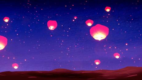 लाल कोन्गिंग लालटेन कार्टून पृष्ठभूमि रात नीले आकाश में बढ़ती, रात, नीला, आकाश पृष्ठभूमि छवि