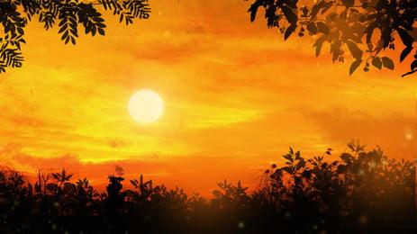 Красный закат листья силуэт фона, красный, закат, Закат свечение Фоновый рисунок
