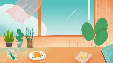रेस्तरां की टेबल विंडो ग्रीन प्लांट कार्टून पृष्ठभूमि, रेस्टोरेंट, खाने की मेज, खिड़की पृष्ठभूमि छवि