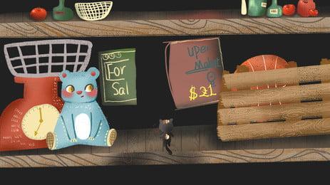 Retro minimalistic hand drawn room advertising background, Advertising Background, Kitchen, Storage Room Background image